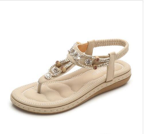 01d8f4f5b Ladies Beaded Sandals 2019 Newest Hot Best Spring And Summer Fashion New  Women S Shoes Bohemian Casual Sandals Large Size Tall Gladiator Sandals Tan  Wedges ...