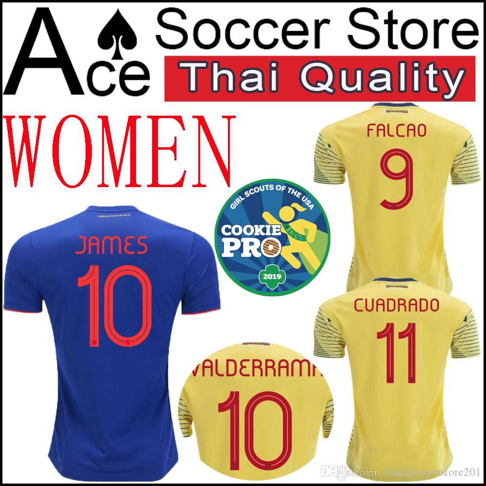 980b1304b 2019 New Colombia WOMEN Soccer Jersey Home Yellow Away 2019 2020 FALCAO  JAMES CUADRADO BOCCA BACCA 19 20 Lady Football Uniform Ms From  Vincentsportstore201