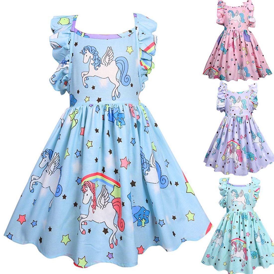 628bed585 Girls Dress Unicorn Print Kids Clothing 2019 Summer Baby Clothes Fashion  Sleeveless Vest Cute Princess Party Dress