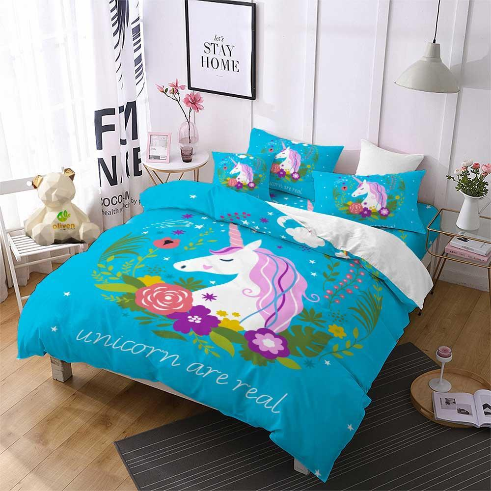Unicorn Kids Bedding Set Cartoon Duvet Cover Set Single Rose Heart Girls Home Textiles 3-Piece Colorful Printed Bedclothes F