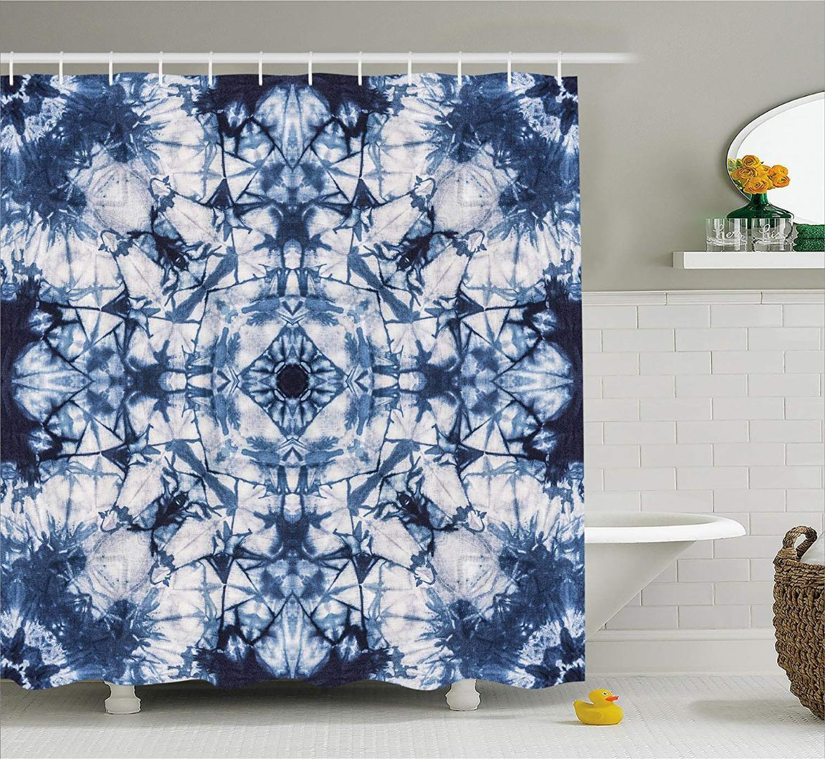 Tie Dye Decor Shower Curtain Old Fashion Kaleidoscope Loose Unfold Motley Pattern With Inner Outer Layers Fabric Bathroom Curtains Cheap