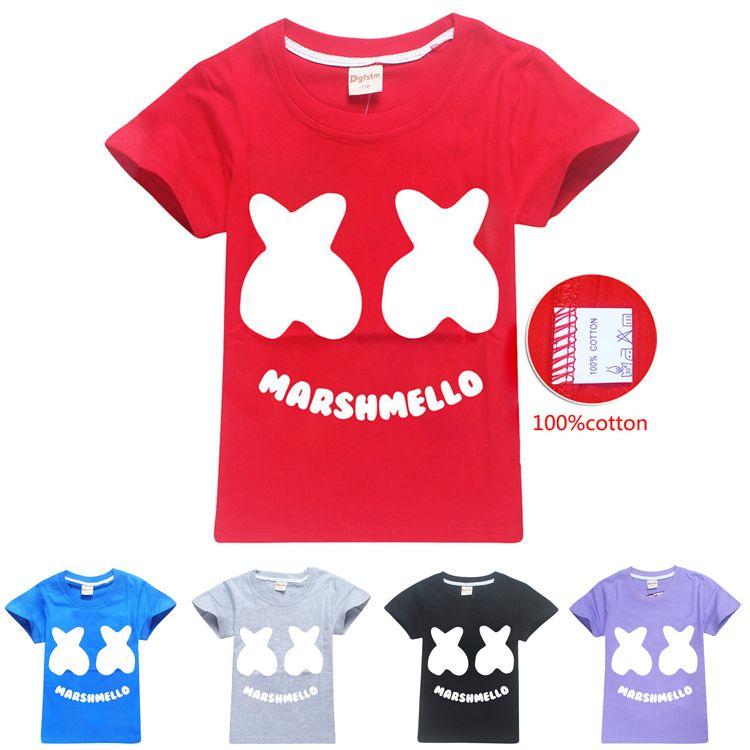 Marshmello T Shirt DJ Music Kids T-shirts Top Outfit Costume tshirts 100/% Cotton