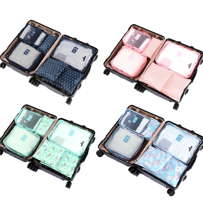 6pcs Packing Cubes Travel Bags Set Unisex Clothing Cosmetics Shoes Data  line Sorting Organizer Storage Pouch Luggage Accessories