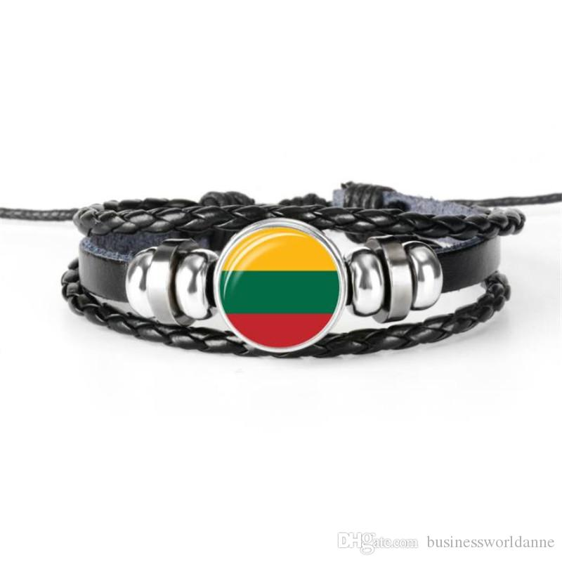 High Quality Geunine Leather Rope Beads Charm Jewelry Lithuania National Flag World Cup Football Fan Time Gem Glass Cabochon Button Bracelet