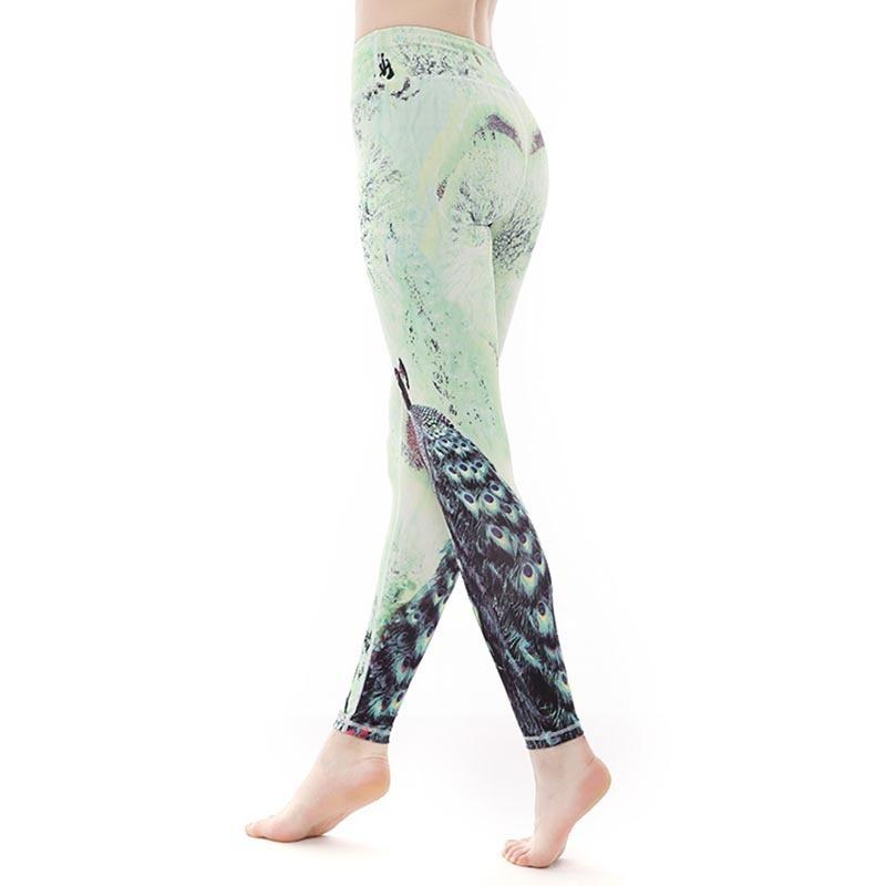 535f39ad25d081 2019 Peacock Patterned Printed Yoga Leggings Women High Waist Tummy Control Running  Workout Tights Polyester&Spandex Sports Legging C19040301 From ...