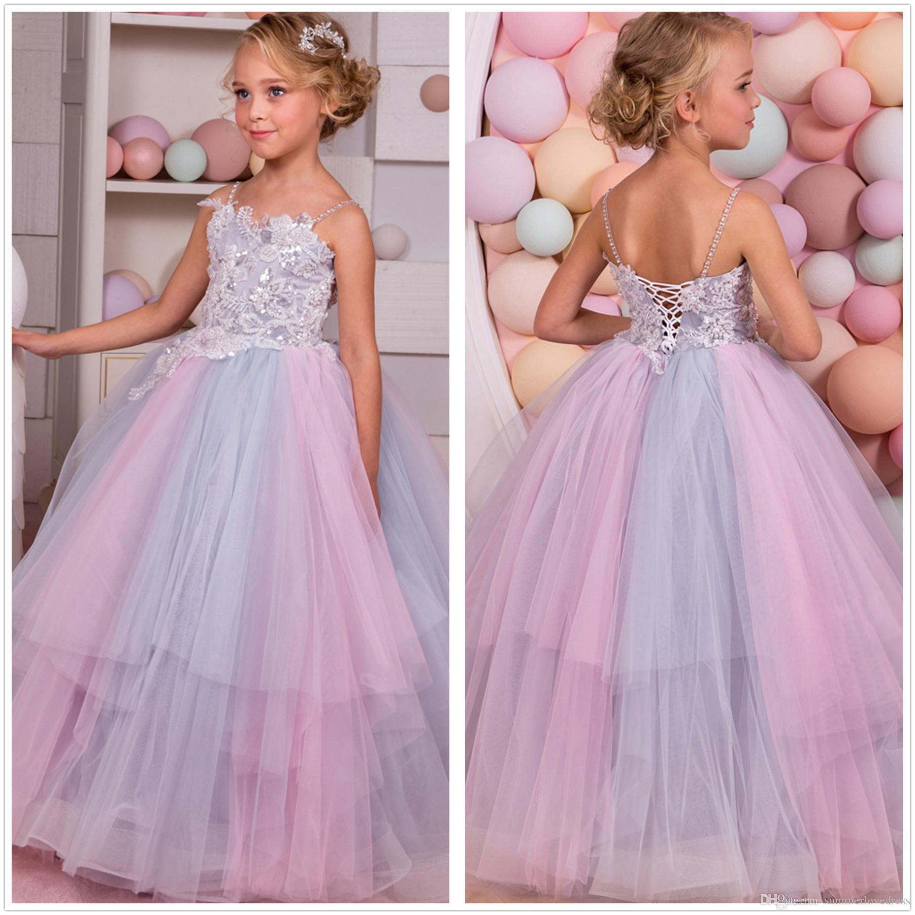 0b9831044e Elegant Spaghetti Straps Colorful Tulle A Line Flower Girl  Dresses Lace  Applique Layered Ruffles Little Girls  Wedding Party Dresses Flower Girl  Dress Sale ...
