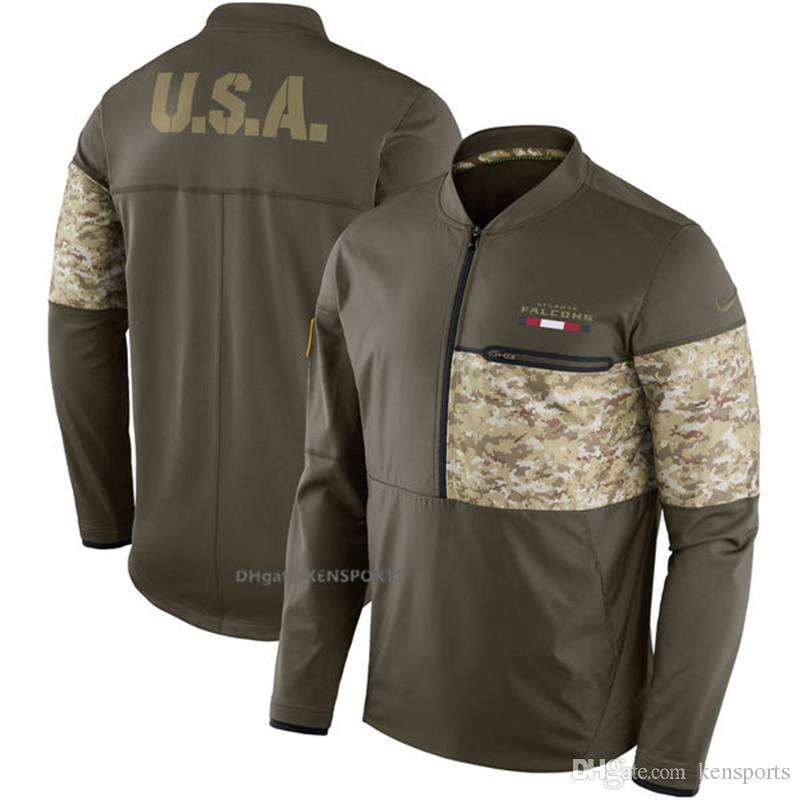 fb8814417 2019 Men Atlanta Falcons Salute To Service Sideline Hybrid Half Zip  Pullover Jacket Olive From Satasata