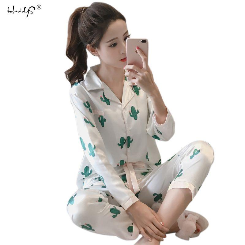 1308d8d343 2019 Women Satin Silk Pajamas Set Summer Cartoon Rabbit Print Pyjama Set  Long Sleeve Sleepwear Suit Women Nightwear Sets Home Clothes From Lantor