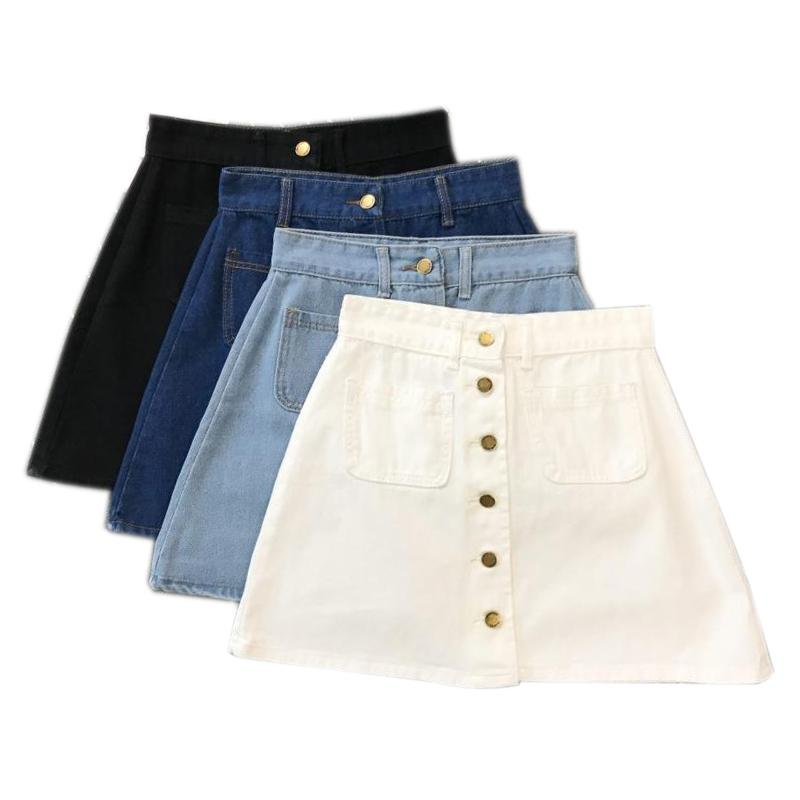 7d2272ebf 2019 Summer Womens Ladies A Line Pencil Jeans Front Button High Waist Denim  Small Pockets Skirt Black White Four Colors C19040901 From Linmei0006, ...