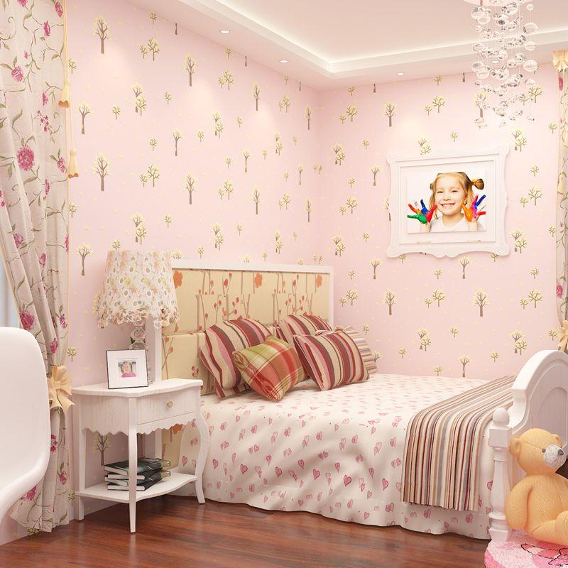 Children\'s Room Non-woven Fabric Wallpaper 3d Relief Papel De Parede Infant  Bedroom Living Room Green Pink Small Tree Wallpaper