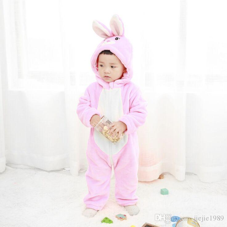 d6f2fa4f1 Baby Clothes Cartoon Rabbit Onesie Flannel Baby Rompers Animal ...