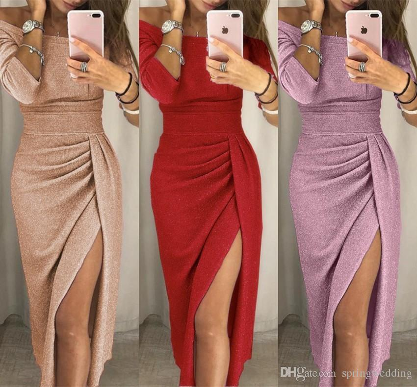 7fc3b592341 Sexy Split Plus Size Women Bodycon Pencil Dress 2019 Women Mini ...
