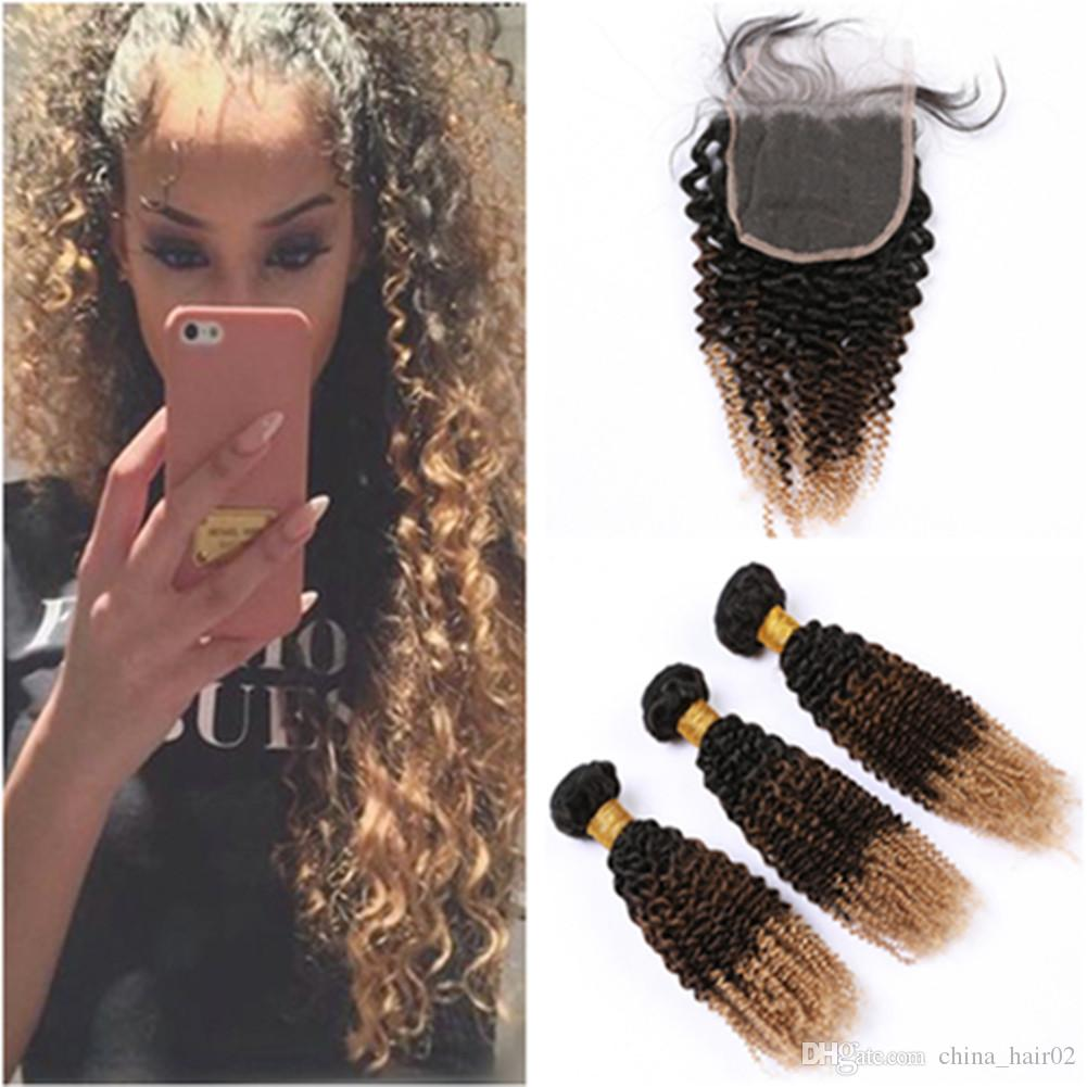 Three Tone Hair Bundles with Closure #1B 4 27 Black brown to Honey Blonde Ombre Malaysian Human Hair Weaves with Lace Closure 4x4