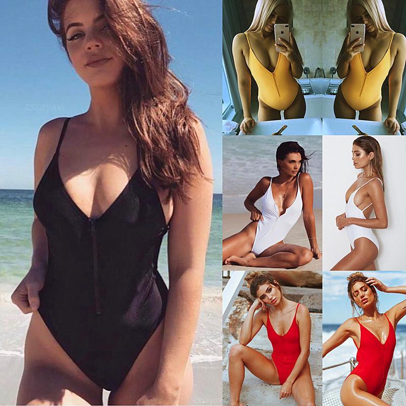 2de6c22b96a Maillot De Bain Une Piece Push Up High Neck Swim Front Zipper Swimsuit  Thong Monokini Swimsuits Sexy Plus Size Girls Bikinis J190275