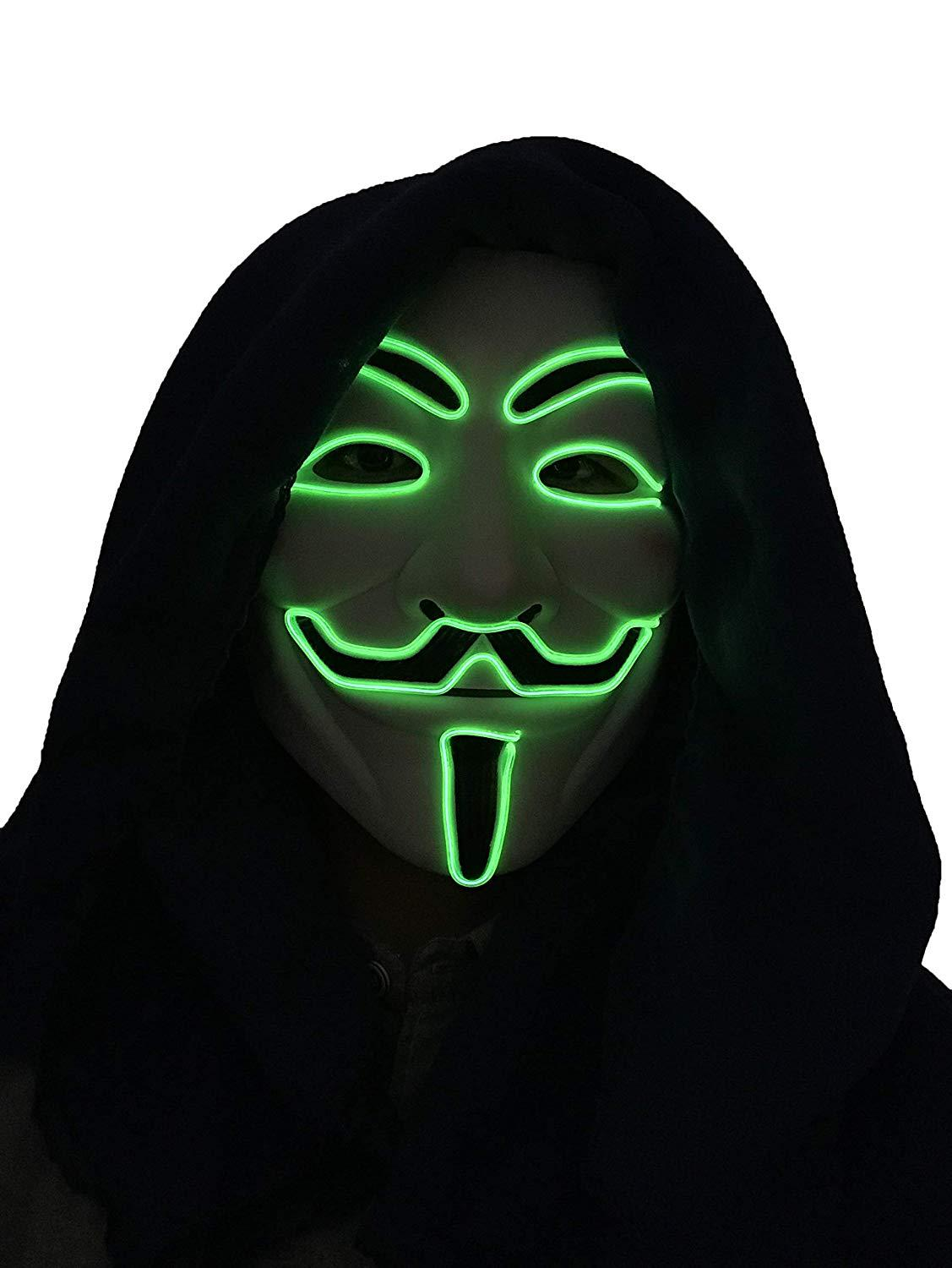 LED Halloween Masks V Word Hatred Mask EL Wire Glowing Mask Masquerade Full Face Masks Halloween Costumes Party Gift