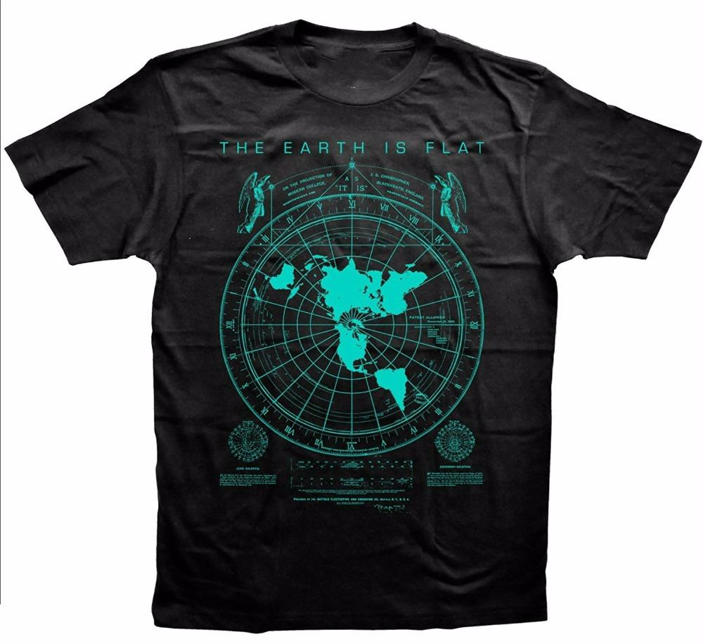 Tee Shirt Printing Men'S Earth Is Flat Flat Earth Map Hipster