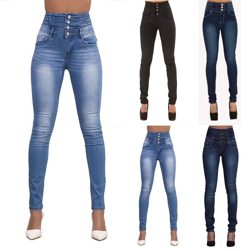 Women Ladies High Waist Skinny Jeans Woman Stretchy Dark Blue Button Fly Denim Skinny Pants Jean Trousers Femme Mujer Jeans