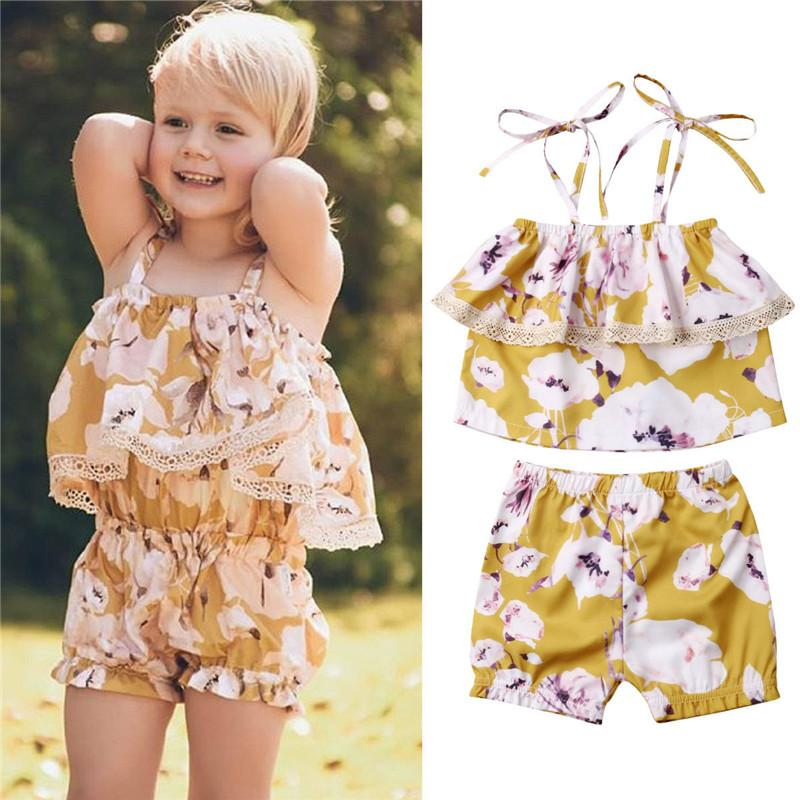 Outfits & Sets Kid Infant Baby Girls Floral Print Lace Strap Romper Jumpsuit Outfits V2