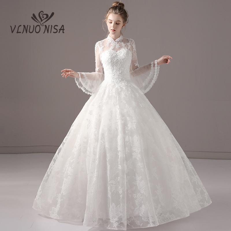 compre elegante vestido de novia de encaje blanco perlas de