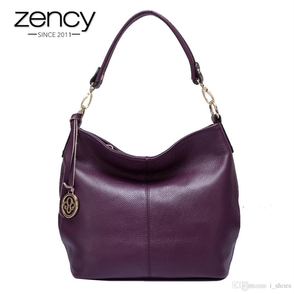 78c17f39d844 Zency Charm Purple Women Shoulder Bag 100% Real Cow Leather Hobos Fashion  Lady Messenger Crossbody Purse Elegant Female Handbag #44289 Hobo Purses  Satchel ...