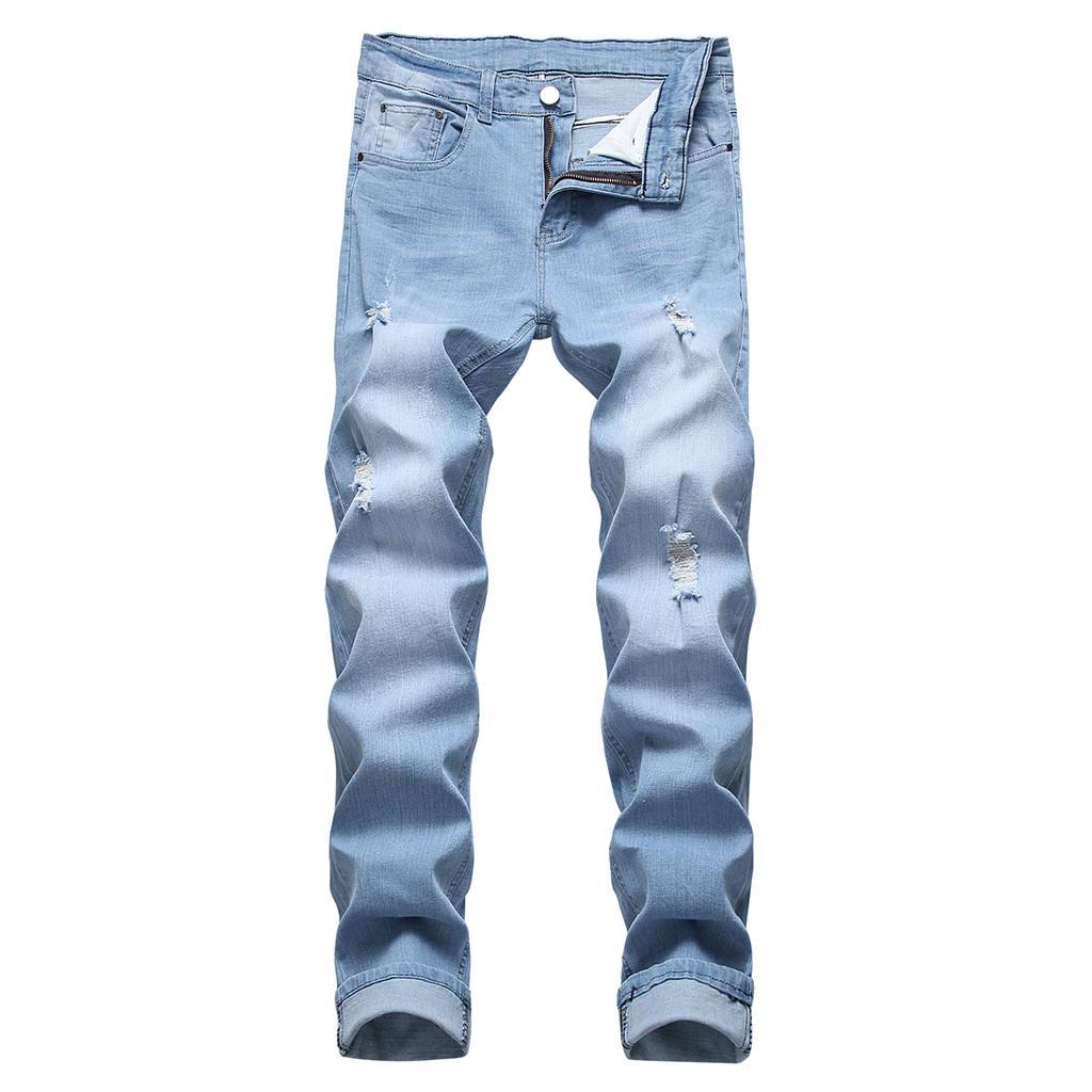 473a1351b5 Compre Pantalones Vaqueros De Algodón Hombres Primavera 2019 Ropa De Hombre  Y Biker Destruido Cuello Ajustado Pantalones De Mezclilla Pantalones  Casuales ...
