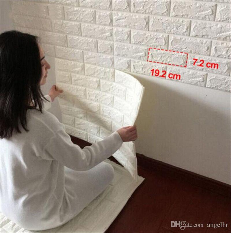 3D PE Foam Embossed Brick Panel Wall Sticker Self Adhesive Decal Home Decor Furniture Stickers