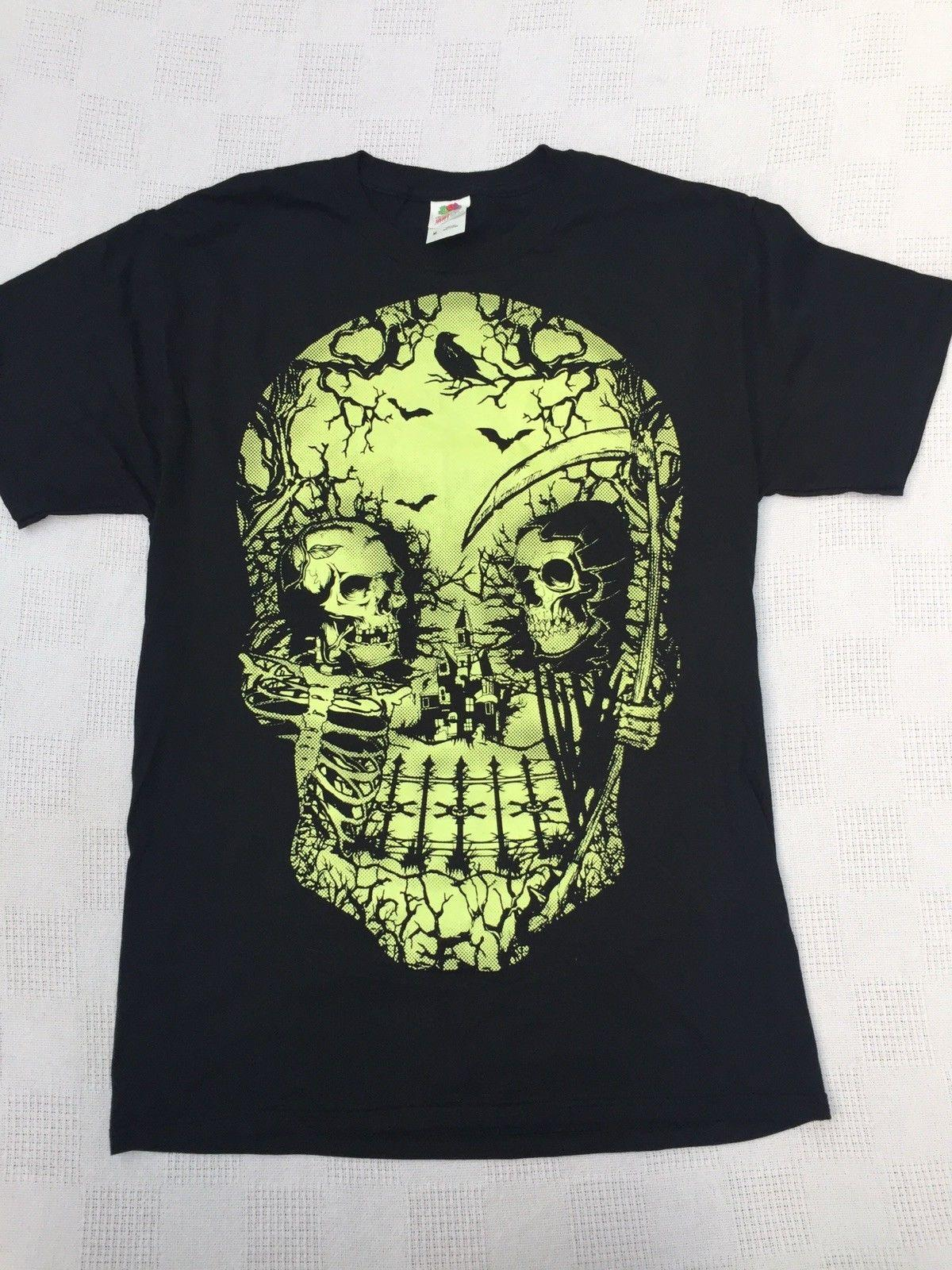 Glow In The Dark Halloween Skull T Shirt Mens Medium Skeleton Black