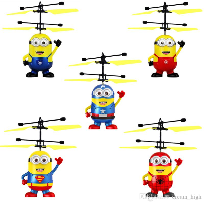 RC helicopter Drone Kids Toys Flying Ball Aircraft Led Flashing Light Up Toy Induction Electric Sensor for Children Minions 5 Styles
