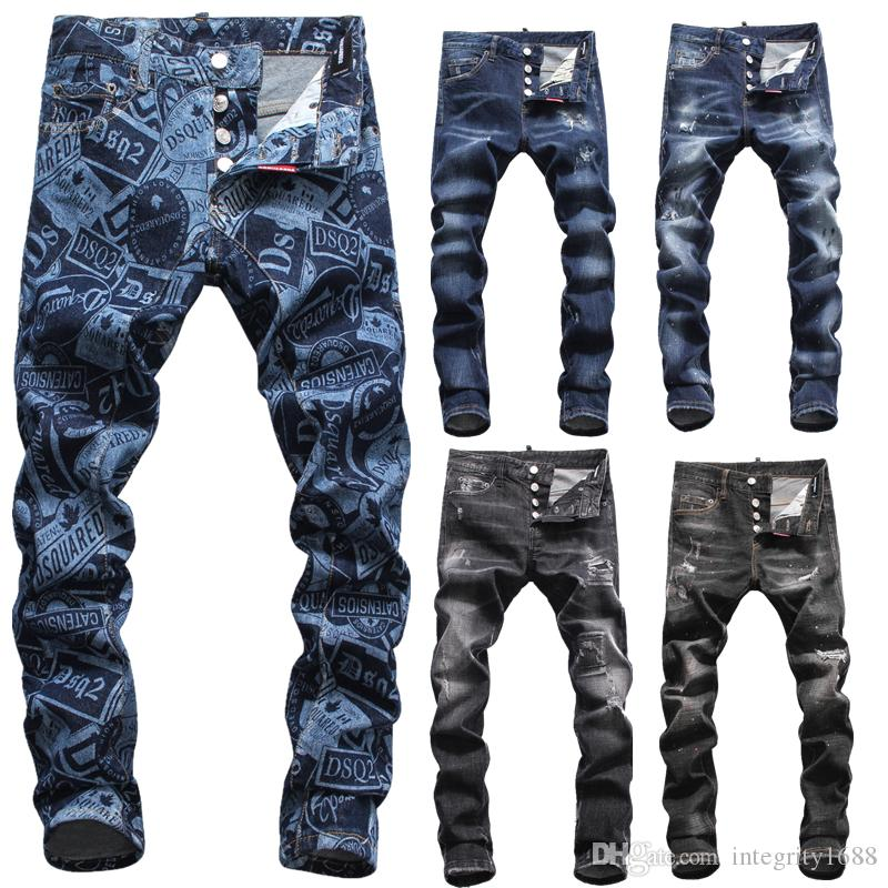 14 Luxury Designs Brand AMI Jeans Designer di abbigliamento Pantaloni Road Panther Black Soldier Uomo Slim Denim Straight Biker Hole Hip Hop Jeans Uomo
