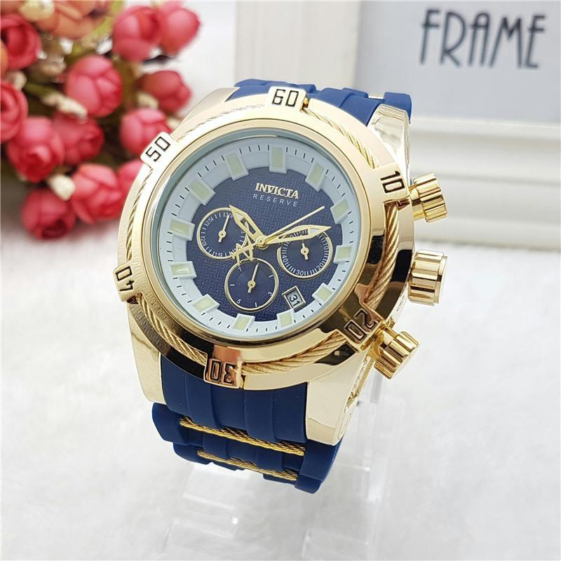 Hot Luxury Tape Men Watch All Subdials Trabalho Chronograph Silicone relógio de quartzo Personalidade Luminous Mostrar montre de luxe natal