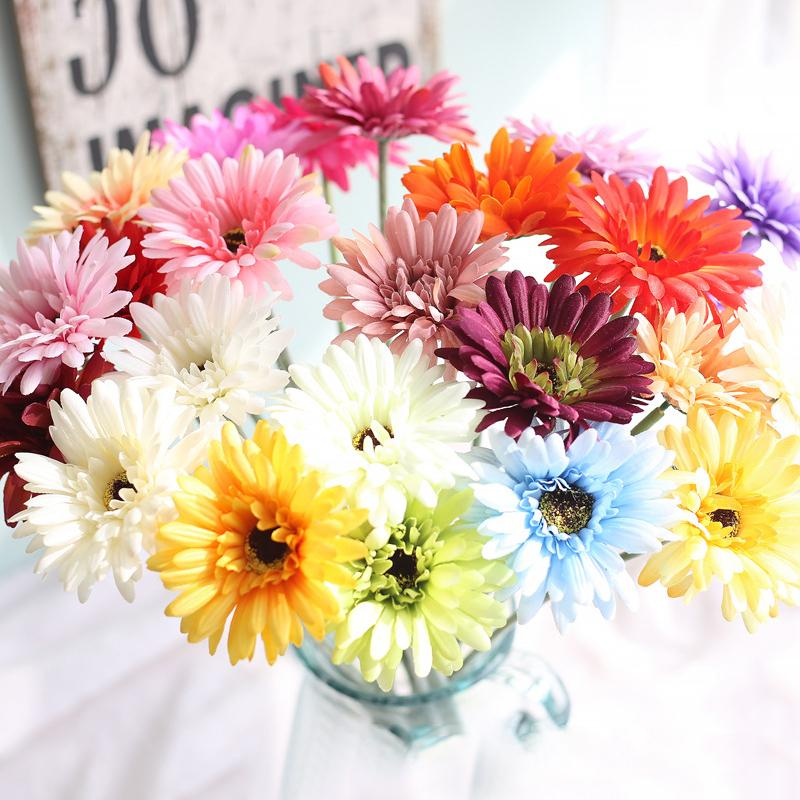 Floral arrangement Sunflower artificial flower African daisy silk flowers 1PC Gerbera High simulation room adornment