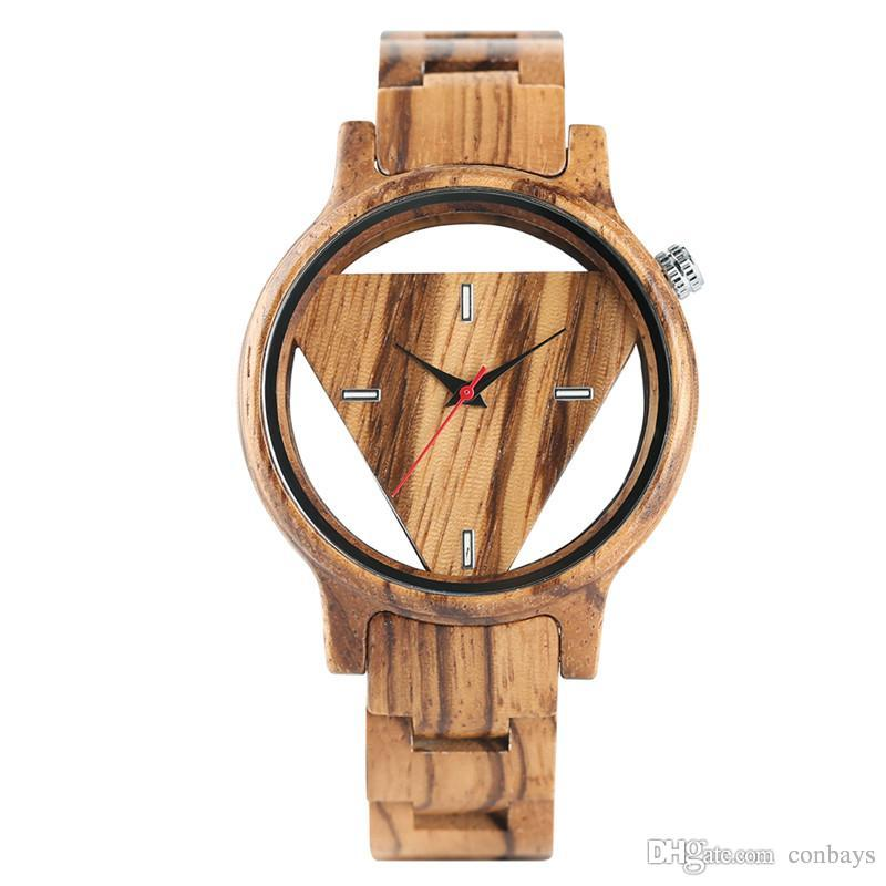 Creative Hollow Trendy Fashion Men Full Wood Quartz-watch Wristwatch Natural Wooden Watch Simple Cool New Arrival Man's Clock Gift for