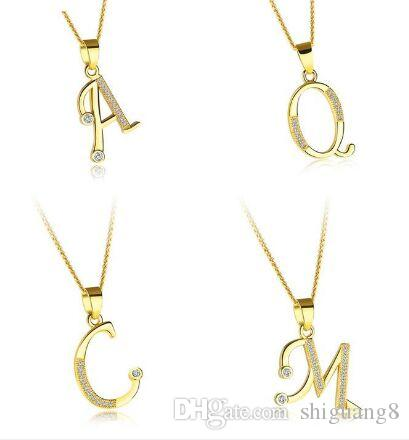 33f723d809df Compre A Z Carta De Cristal Colgantes De Suerte Collares Collar De Oro  Inicial Collar Nombre De La Joyería Para Las Mujeres Niña A  2.36 Del  Shiguang8 ...