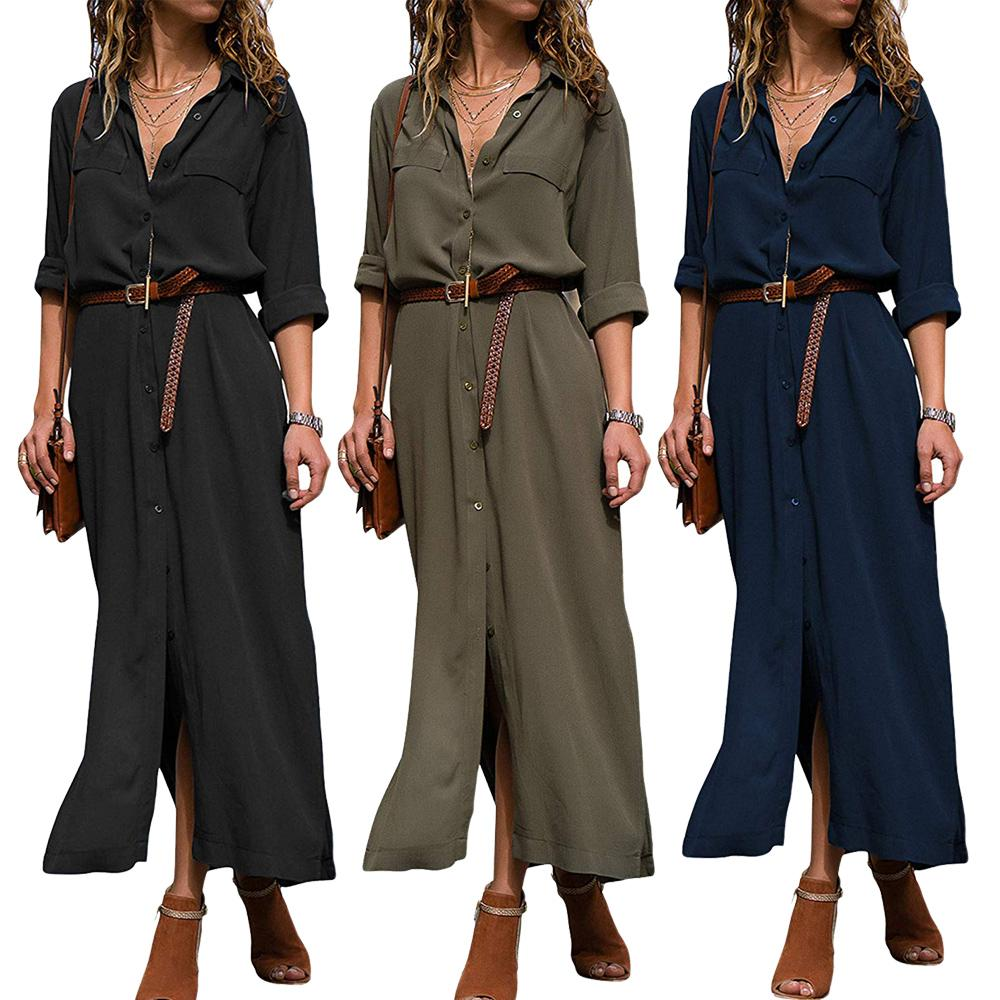 a623c8df16 Großhandel Frauen Büro Damen V Ausschnitt Knielangen Bluse Kleid Langarm  Shirt Kleider Mit Knopf Schwarz Grün Blau Von Clothes_zone, $27.14 Auf  De.Dhgate.