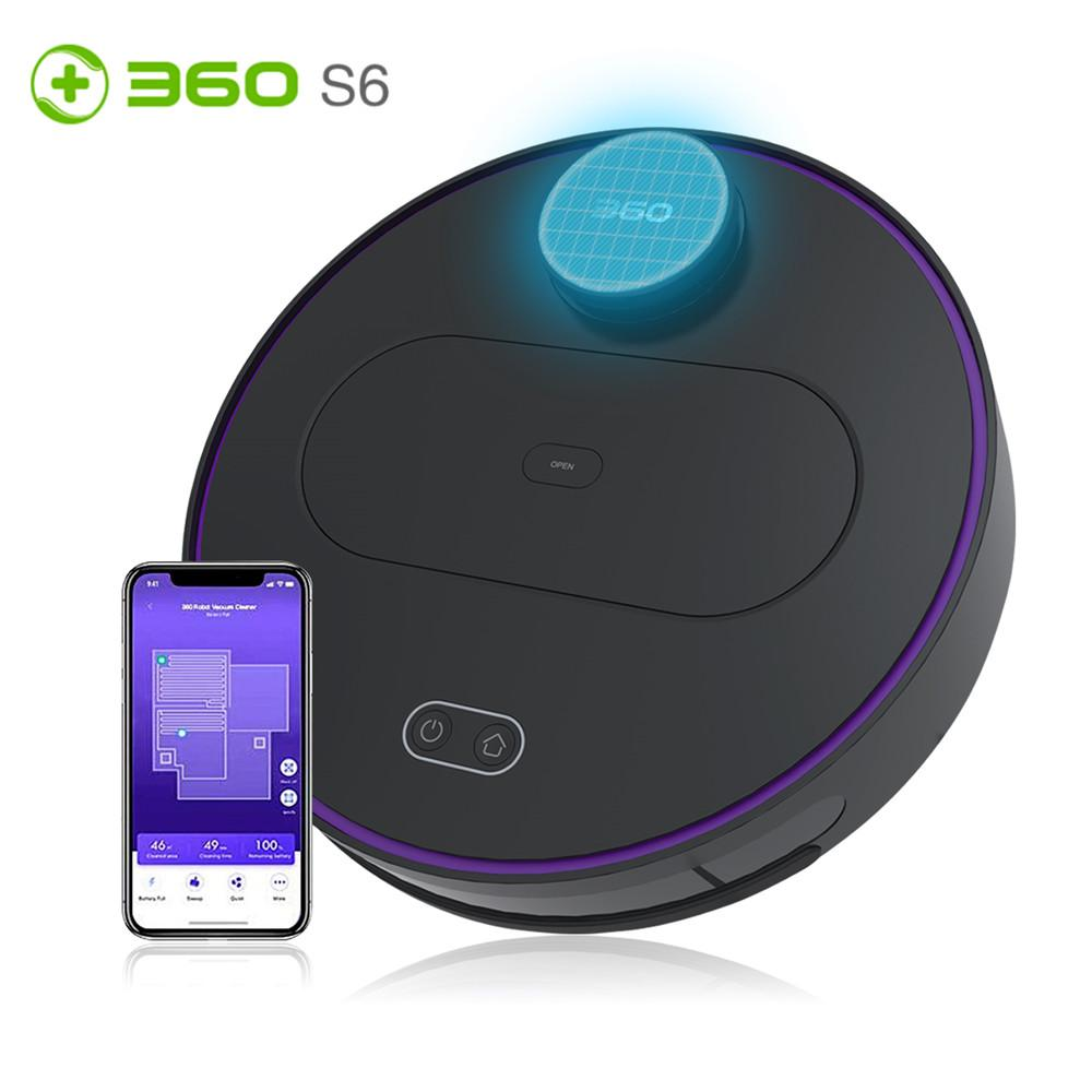 360 S6 Robotic Vacuum Cleaner Automatic Limpeza Controle do robô inteligente LDS lidar Varrendo Robot Remoto para Home Esterilizador Cleaner
