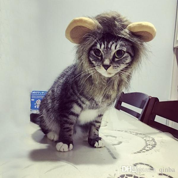 2019 Hair Ornaments Costume Halloween Clothes Fancy Dress Up Lion Mane Wig Decoration Headwear Wig Hat Pet Dog Cat Headgear Puppy Costume