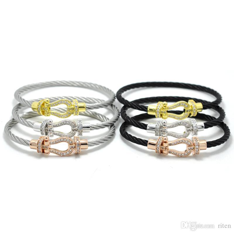 chaussures de sport 25043 f1739 whole saleJ.K bracelet manchette Male femme love bijoux Crystal Bracelets  bangles For Fashion stainless steel Jewelry Men Women bangle