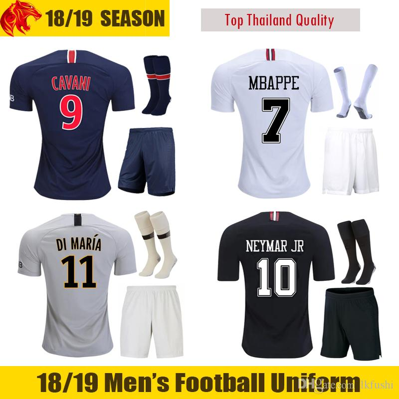 premium selection 5b527 29c7d 18 19 MBAPPE Football Uniforms VERRATTI 2018 2019 T.SILVA CAVANI Soccer  Sets WEAH DI MARIA Football Kits
