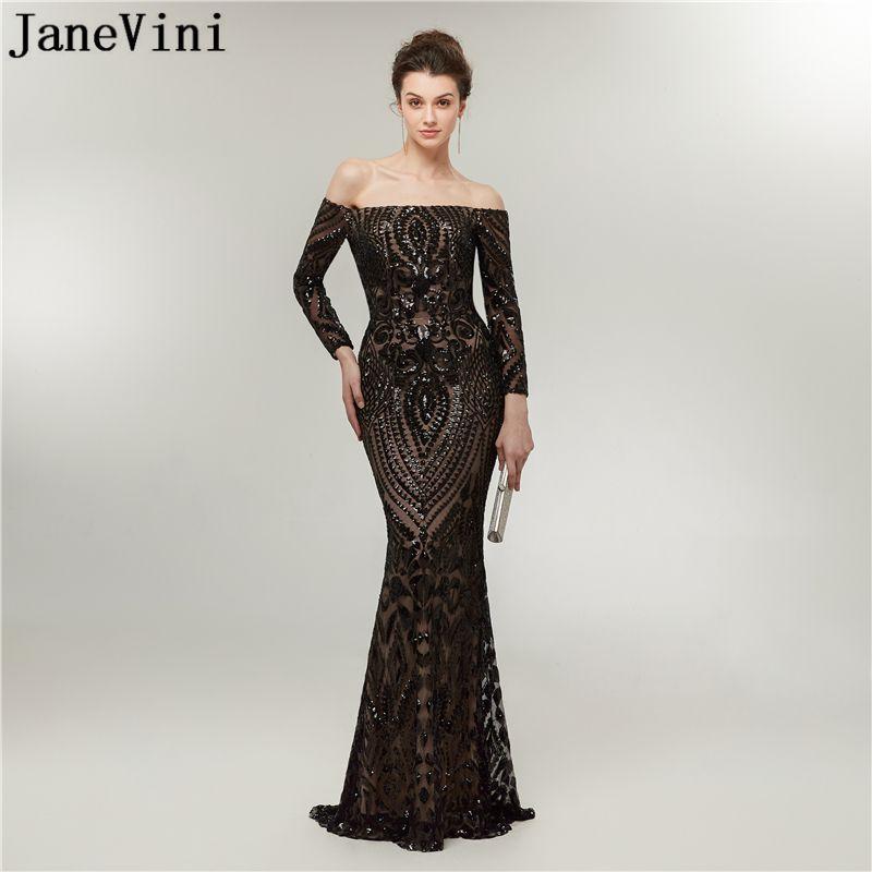 Janevini Arabic Long Sleeve Black Mermaid Prom Dresses Off Shoulder