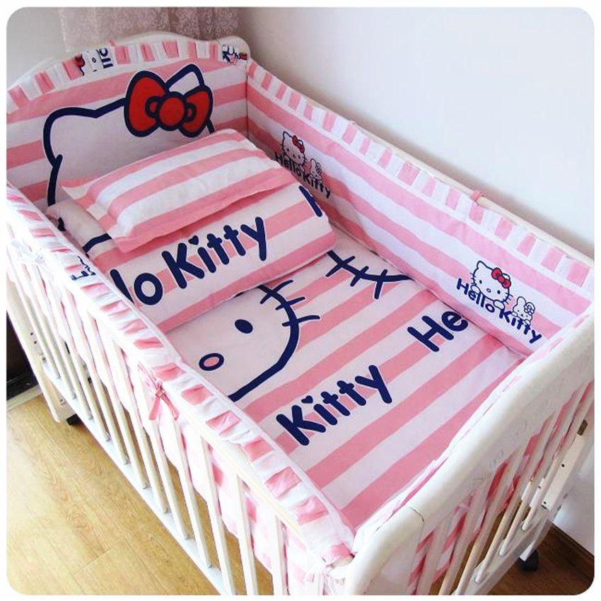Baby Bed Set Bumper Cotton Beautiful Baby Bedding Set Pink Striped Cartoon  Cat Comfort Cot Sheet Girl Bedding Sets Bumpers