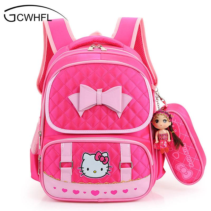 acc4387f86 Hello Kitty School Backpacks For Children Nylon Girls Princess School Bag  Waterproof Kids Satchel Girl Schoolbag Mochila Escolar Y18110107 Girl  Backpacks ...