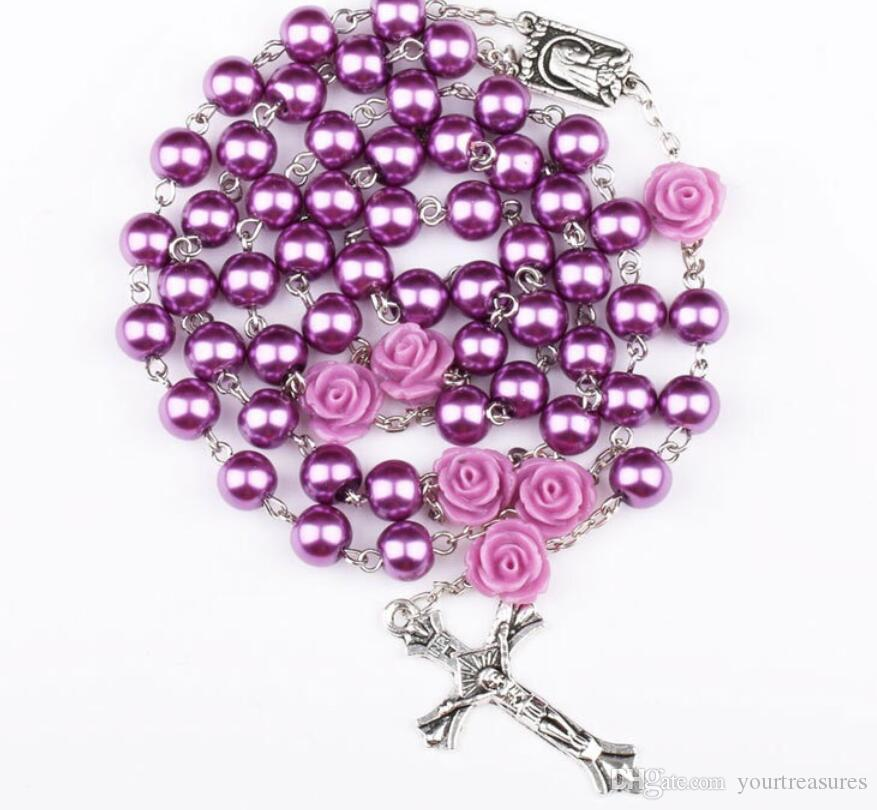 10Pcs Fashion Religious Simulated Pearl Beads Purple Rose Catholic Rosary Necklace Women Long Strand Necklaces Jesus Jewelry Gift