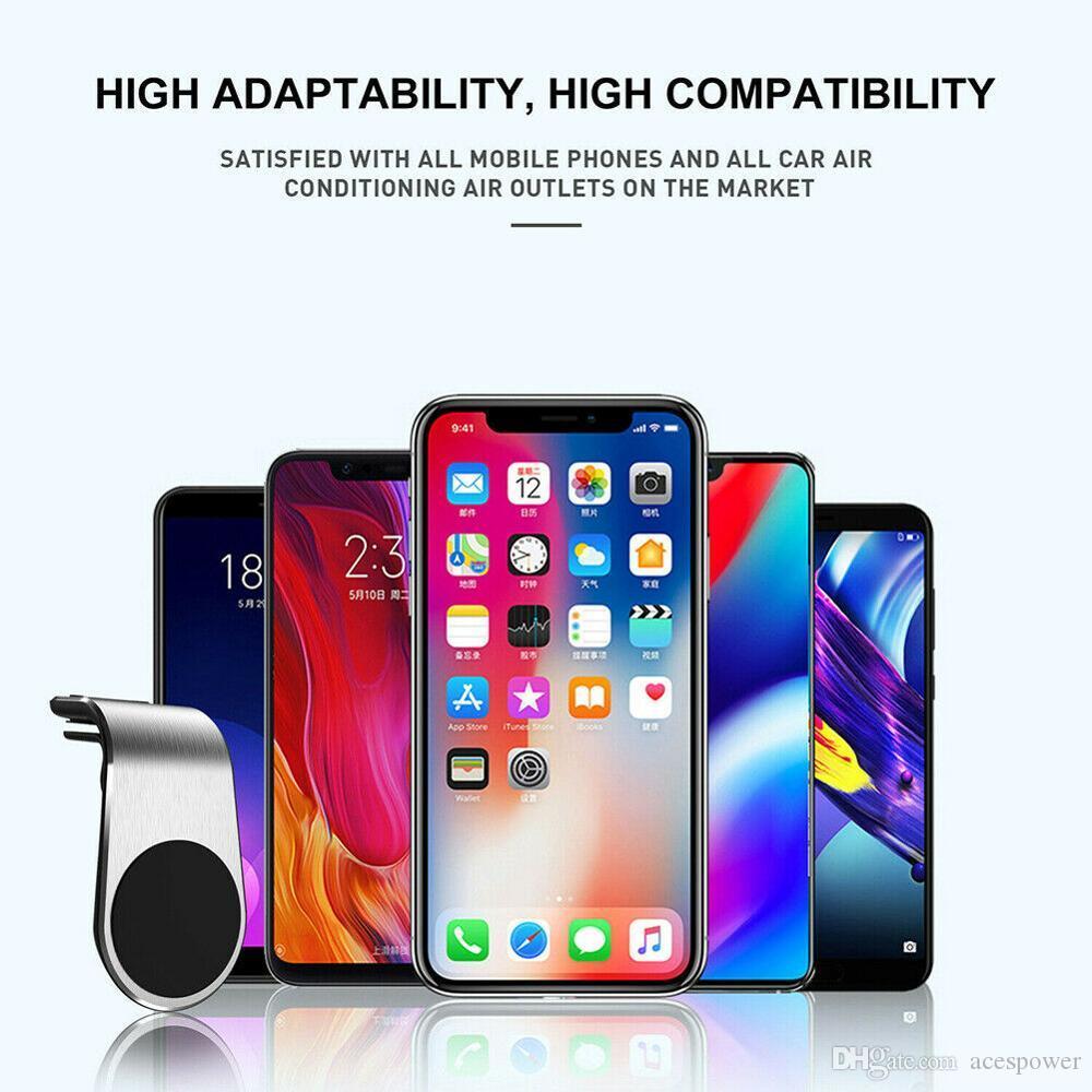 Tenedor de teléfono magnético L Forma Soporte de soporte de ventilación de aire en el soporte de soporte de teléfono celular para Samsung Support GPS con paquete