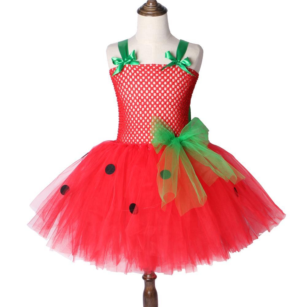 Rojo Fresa Halloween Navidad 2 12y Verde Vestido Tutu Disfraz Tul Niños Fiesta Q190522 Para Cumpleaños De Niñas tsrhCQd