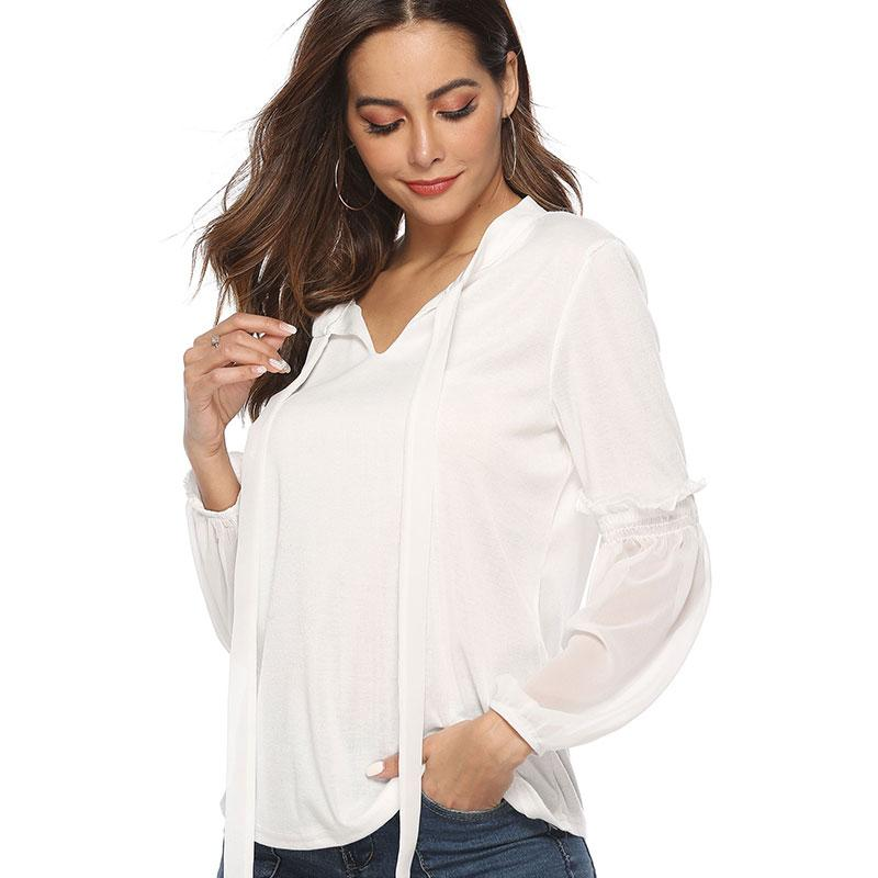 aba74d674 Spring and Summer 2019 New European and American Women's Shirt V-collar  Bubble Sleeve Solid Color Female Blouse Haute Couture
