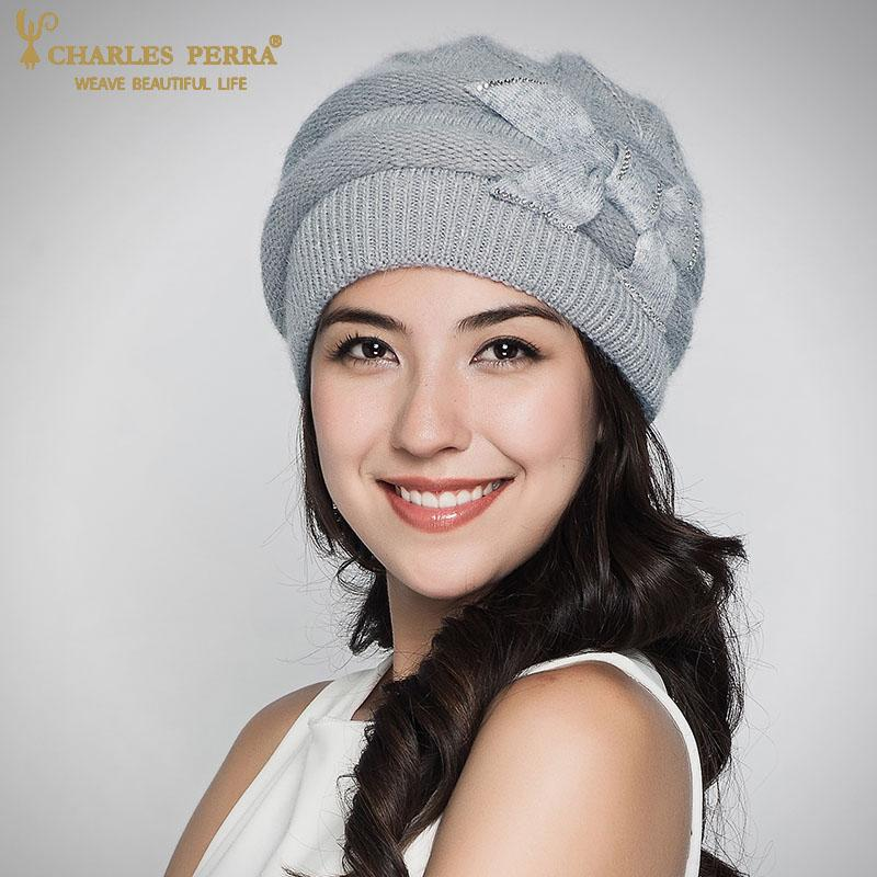 6e0f41ae317c93 Charles Perra Women Knitted Hats Winter Thicken Double Layer Elegant Casual  Rabbit Hair Blend Women'S Hat Female Beanies D304 S18120302 Crochet Baby  Hats ...