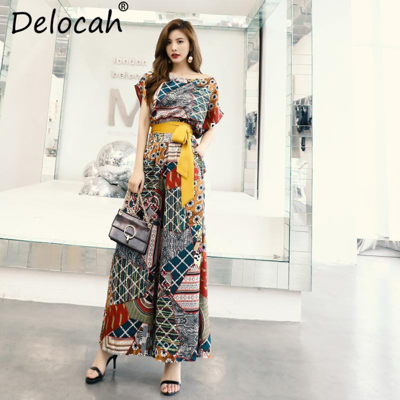 Delocah Summer Vintage Suits Fashion Runway Women's Short Sleeve Loose Tops And Geometric Print Wide Leg Pants Two Pieces Set