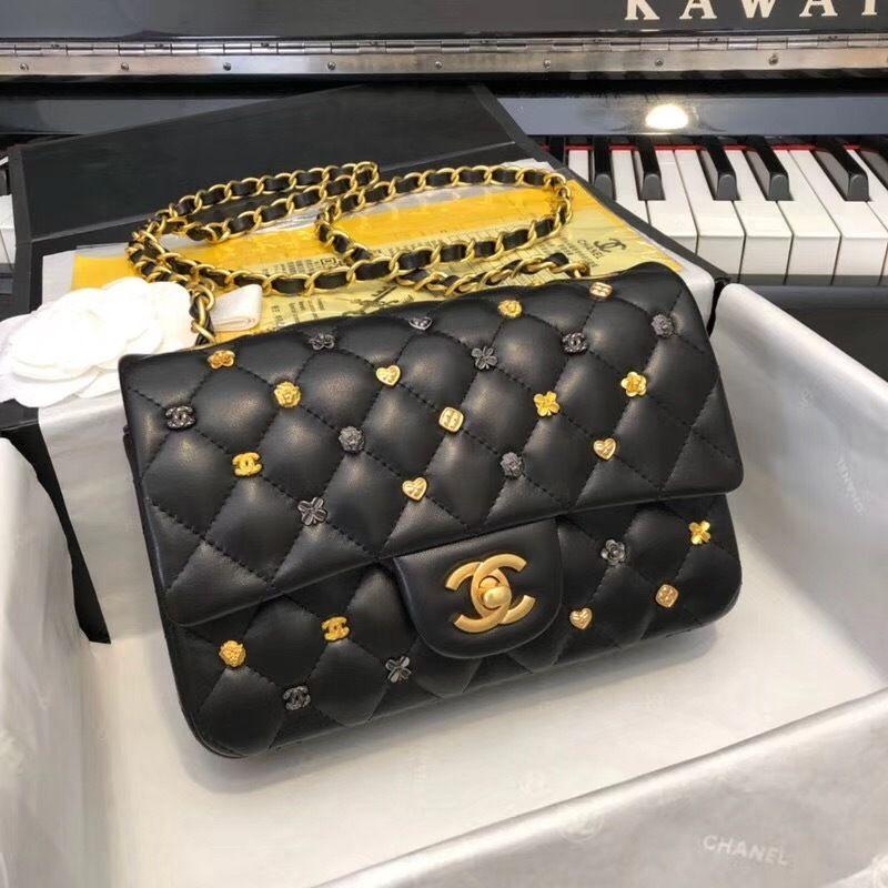 9183b8d77b7930 New Cf 20 Cm Real Lambskin Rivet Ley Boy Chain Bag Flap Bag Black Women  Handbags Top Handles Iconic Bags Shoulder Bags Totes Cross Body Crossbody  Purses ...