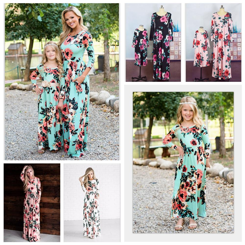 4afd0e5cb2940 INS Mummy Baby Floral Dress Bohemian Matching Dress Girls Maxi Dresses  Mother Daughter Boho Dress Family Party Dresses AAA2070