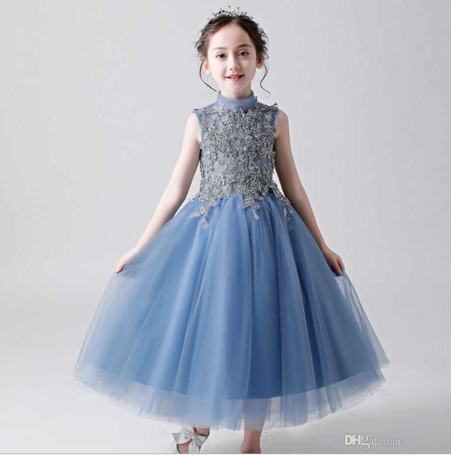 2d64ae1807a2fb High Collar Girl S Pageant Birthday Party Dress Sequin Blue Tulle Appliques  Flowers Girl Princess Dress Fluffy Kids First Communion Dresses Fuschia  Flower ...